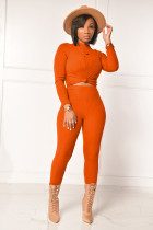 Solid Ribbed Long Sleeve Stretch Slim 2 Piece Sets YIS-526