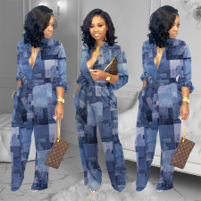 Casual Loose Printed Sashes Jumpsuits YFS-3640