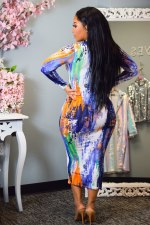 Fashion Tie-dye Print Sexy Slim Long Sleeve Midi Dress KYF-3040