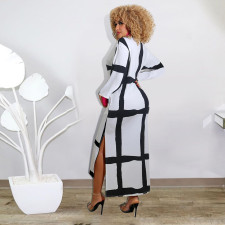 Sexy Plaid Long Sleeve Split Long Dress SFY-214