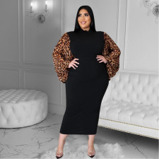 Plus Size 4XL Leopard Patchwork Lantern Sleeve Long Dress YD-8346