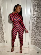 Sexy Striped Long Sleeve Tight Jumpsuits SFY-212
