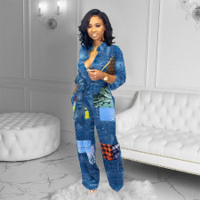 Casual Loose Printed High Waist Sashes Jumpsuits YFS-3642