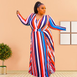 Plus Size 5XL Striped V Neck High Split Maxi Dress OSIF-20942