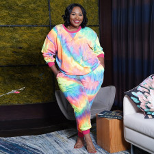 Plus Size 5XL Tie Dye Leopard Two Piece Sets OSIF-20971