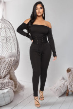 Plus Size Sexy Slash Neck Lace Up Jumpsuit LX-6151