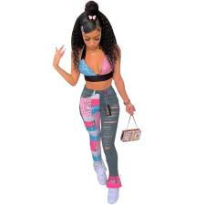 Fashion Print Denim Splice Pants LSF-9050