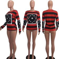 Casual Star Striped Print O Neck Sweatshirt DAI-8070
