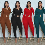 Solid Ribbed Long Sleeve Zipper Two Piece Sets MA-394