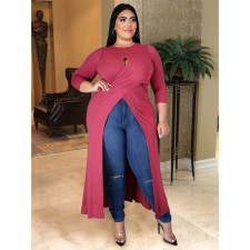 Plus Size 5XL Solid Color Sexy Hollow Out Split Long Top ASL-7008