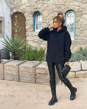 Black Casual Printed Hooded Sweatshirts LSF-9056
