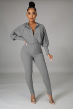 Solid Hooded Zipper Long Sleeve Jumpsuit OMY-8105