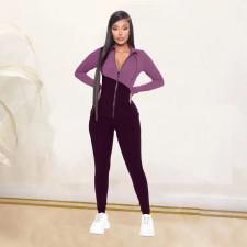 Contrast Color Zipper Long Sleeve 2 Piece Suits LDS-3256