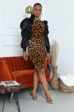 Sexy Leopard Puff Sleeve Slim Knee Length Dress WY-6680