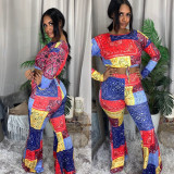 Colorful Printed Long Sleeve Flared Pants 2 Piece Sets ABF-6647