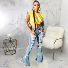 Plus Size Denim Ripped Hole Flared Jeans HSF-2369