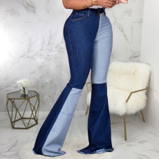 Plus Size Denim High Waist Patchwork Jeans HSF-2389
