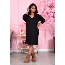Casual Loose V Neck Long Sleeve Midi Dress PIN-8555