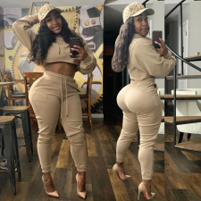 Solid Color Hooded Sweatshirts And Pants Two Piece Set AWYF-706