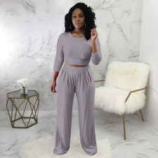 Solid Long Sleeve Two Piece Pants Set SMR-9691