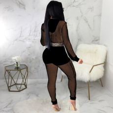 Sexy Mesh See Though Hooded 2 Piece Sets (Without Bra Top) SMR-9859
