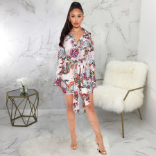 Sexy Floral Print V Neck Sashes Mini Dress SMR-9919
