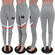 Casual Skinny Stacked Print Sweatpants ANNF-6027