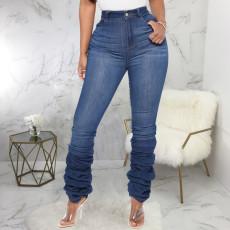 Plus Size Denim High Waist Skinny Piles Jeans HSF-2384