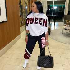 QUEEN Letter Sweatshirts And Pants Two Piece Set SXF-1197