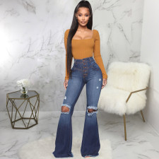 Plus Size Denim High Waist Hole Flared Jeans HSF-2392