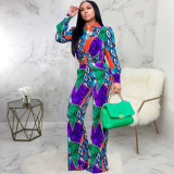 Trendy Printed Blouse Top And Pants 2 Piece Sets SMR-9935
