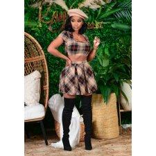 Plaid Print Crop Top Pleated Mini Skirt 2 Piece Sets CHY-1292