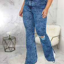 Plus Size 5XL Denim Hole Split Flared Jeans HSF-2382