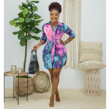 Plus Size Tie Dye Long Sleeve Casual Shirt Dress SMR-9947