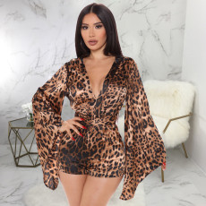 Sexy Leapard Long Sleeve V Neck Rompers SMR-9850