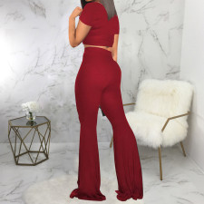 Solid Short Sleeve Flared Pants Two Piece Suits SMR-9917