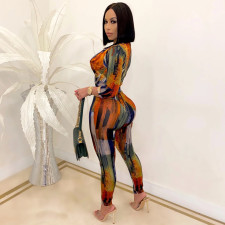 Plus Size Printed Multicolor One Piece Jumpsuits OM-1196