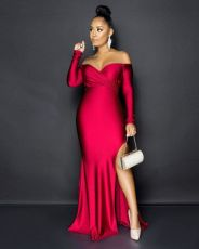 Sexy Red Off Shoulder Long Sleeve Slit Long Dress QYF-5036