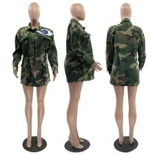 Camouflage Print Sequined Eye Full Sleeve Coat MOF-6602