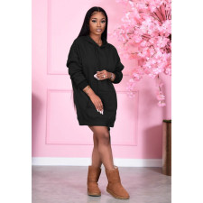 Casual Solid Drawstring Hoodie Dress SMD-2057