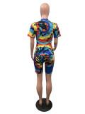 Fashion Sexy Tie-dye Short Sleeve Shorts Two Piece Set OMY-8054