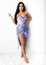 Sexy Printed Drawstring Ruched Sling Club Dress LS-0334