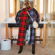 Fashion Mix And Match Plaid Long Trench Coat SZF-6097