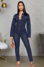 Plus Size Denim Long Sleeve Jeans Jumpsuits LX-6047