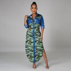 Camo Denim Patchwork Long Sleeve Irregular Maxi Dress CYA-8845