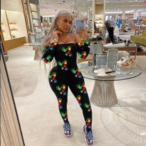 Fashion Sexy Off Shoulder Printed Jumpsuit SMF-8071