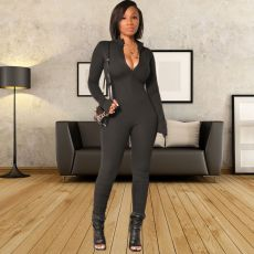 Solid Long Sleeve Zipper Stacked Jumpsuits Without Mask YSF-468