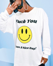 Plus Size Smiley Print O Neck Loose Pullover Tops DAI-8320