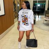 Fashion Casual Poker Cartoon Print Long Sleeve Sweatshirts Dress KYF-3046
