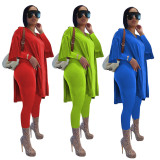 Casual Solid Color Split Long Sleeve Top Legging Pants Two Piece Set LLF-8836